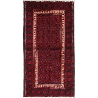"Balouch Geometric Hand-Knotted Wool Persian Oriental Rug - 6'5"" x 3'5"" Runner"