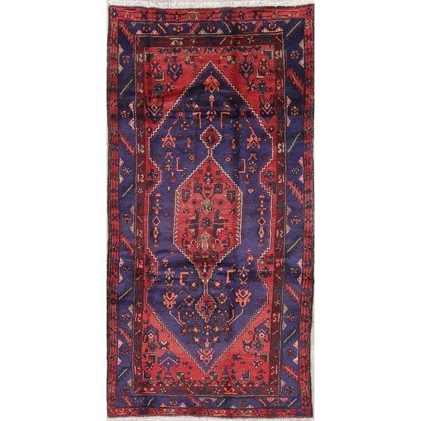"Hamedan Geometric Hand-Knotted Wool Persian Oriental Rug - 8'7"" x 4'5"" Runner"