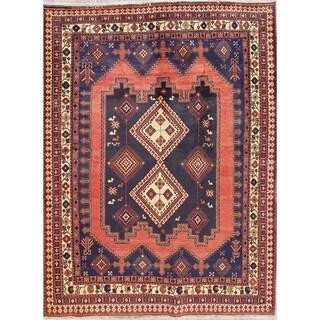 "Sirjan Tribal Geometric Hand-Knotted Wool Persian Oriental Area Rug - 7'0"" x 5'4"""