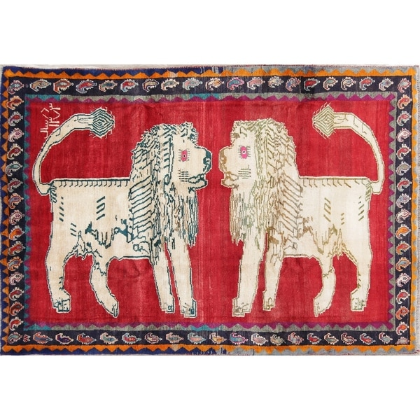 """Gabbeh Animal Pictorial Hand-Knotted Wool Persian Oriental Area Rug - 9'6"""" x 6'6"""""""