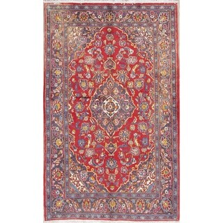 """Kashan Floral Medallion Traditional Hand-Knotted Wool Persian Area Rug - 5'10"""" x 3'9"""""""