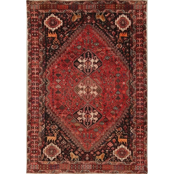 """Antique Qashqai Tribal Animal Pictorial Hand-Knotted Persian Area Rug - 10'1"""" x 6'11"""""""