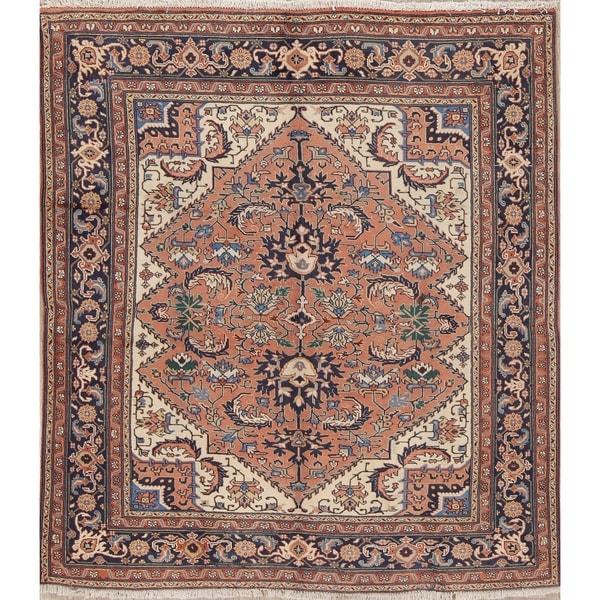 "Vintage Heriz serapi Tribal Hand-Knotted Wool Persian Oriental Rug - 7'3"" x 6'4"""