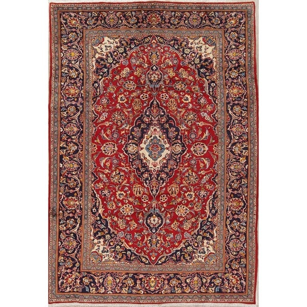 Shop Classical Kashan Medallion Hand Knotted Persian Wool: Shop Kashan Floral Medallion Traditional Hand-Knotted Wool