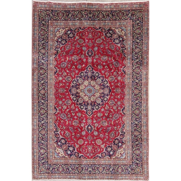 "Vintage Kashmar Medallion Traditional Hand-Knotted Wool Persian Rug - 9'7"" x 6'3"""