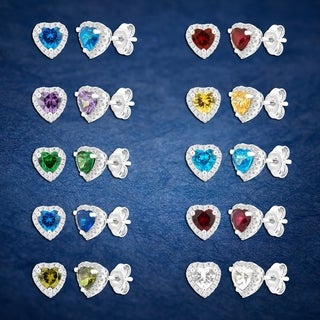 Link to Divina Silver Overlay Created Heart Gemstone Fashion Earrings Similar Items in Earrings