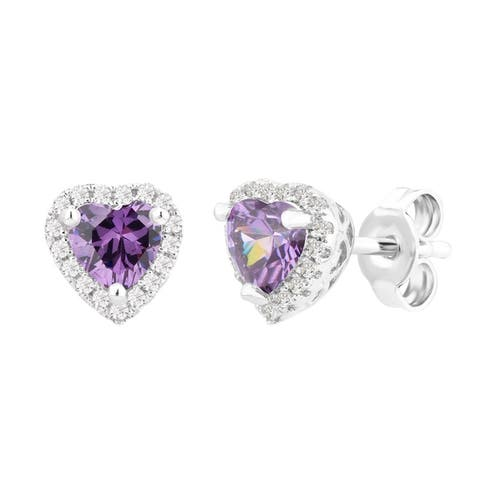 Divina Silver Overlay Created Heart Gemstone Fashion Earrings