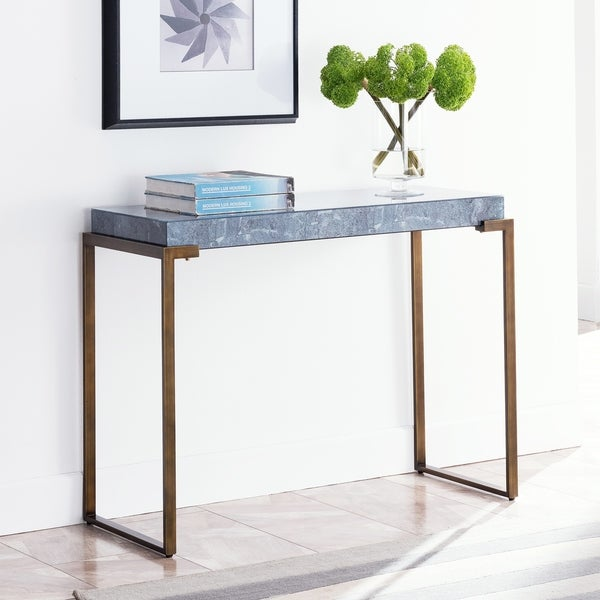 Silver Orchid Lahall Faux Stone Console Table