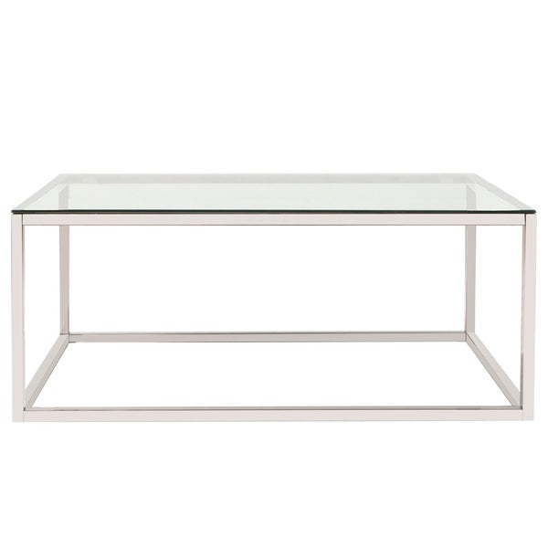 Allan Andrews Clear Stainless Steel Rectangular Coffee Table