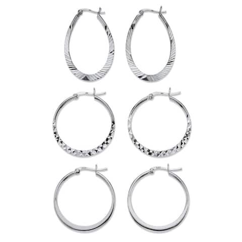 Sterling Silver Diamond Cut 3 Pair Hoop Earrings Set (33mm)