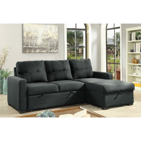 Boris Sectional with Pull Out Bed & Storage Chaise, Grey