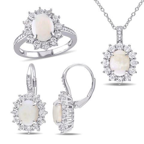 Miadora Sterling Silver Opal White Topaz and 1/6ct TDW Diamond Halo Jewelry Set