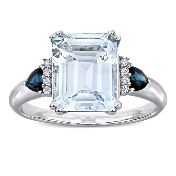 1f0afedd06ab7 Shop Miadora Sterling Silver Multi-Cut Ice Aquamarine Blue Sapphire ...
