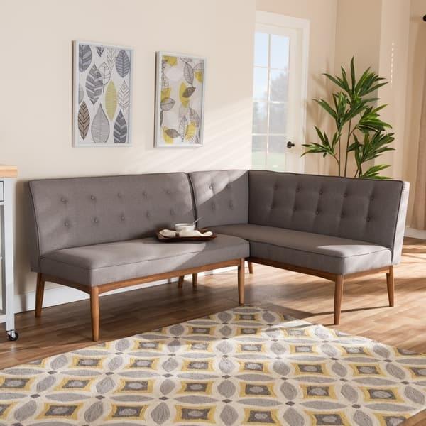 Mid Century Gray Fabric 2 Piece Dining Corner Sofa