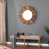 """Carbon Loft Chadwell Reclaimed Wood Round Wall Mirror - 18.75"""""""