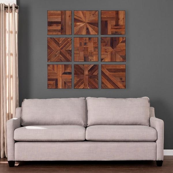 "Carbon Loft Carleton Reclaimed Wood Wall Panels - 9pc Set - 15"" x 15"""