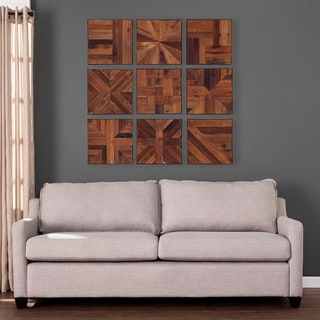 "Carbon Loft Carleton Reclaimed Wood Wall Panels - 9pc Set - 15"" x 15"""