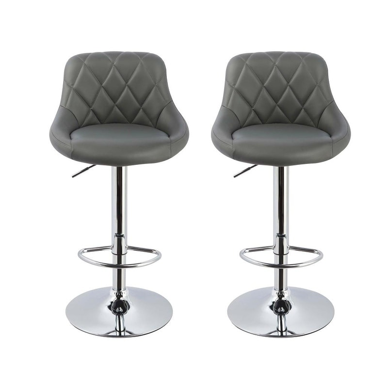 Astonishing Best Master Furniture Leather Stainless Steel Adjustable Swivel Bar Stools Set Of 2 Bralicious Painted Fabric Chair Ideas Braliciousco