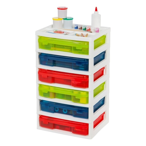 6-Case Activity Chest with Organizer Top, Assorted Colors