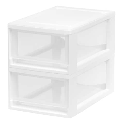 IRIS Small Stacking Drawer, 2 Pack, White