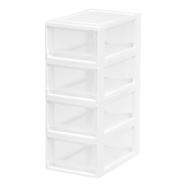 IRIS Small Stacking Drawer, 4 Pack, White. Opens flyout.