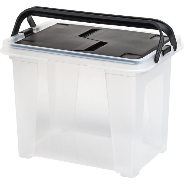 IRIS Letter Size Portable Wing Lid File Box with Handles, Black. Opens flyout.