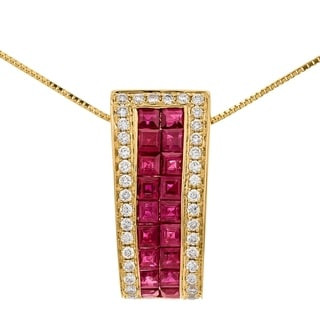 Link to 14K Yellow Gold Ruby & Diamond Pendant by Anika And August - White Similar Items in Necklaces