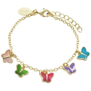 Link to Luxiro Gold Finish Multi-color Enamel Butterfly Charm Bracelet Similar Items in Children's Jewelry
