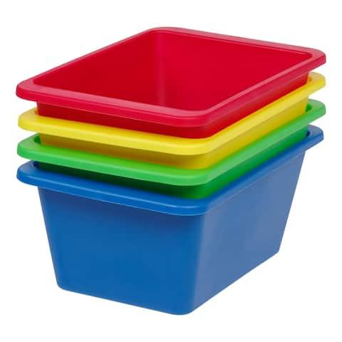 IRIS Small Multi-Purpose Plastic Bins, 4 Pack, Primary