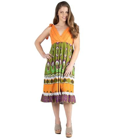 24seven Comfort Apparel Women's Orange Midi Halter Summer Dress