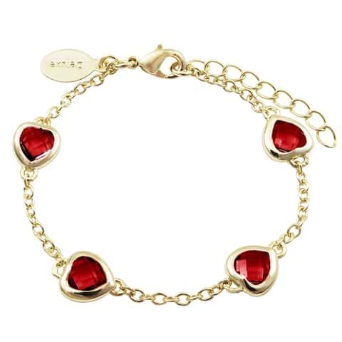 Luxiro Gold Finish Red Cubic Zirconia Heart Bracelet