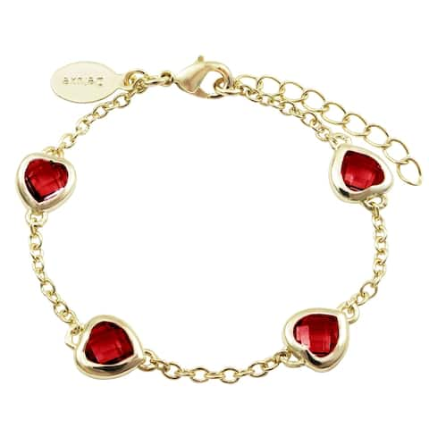 Luxiro Gold Finish Red Cubic Zirconia Heart Bracelet