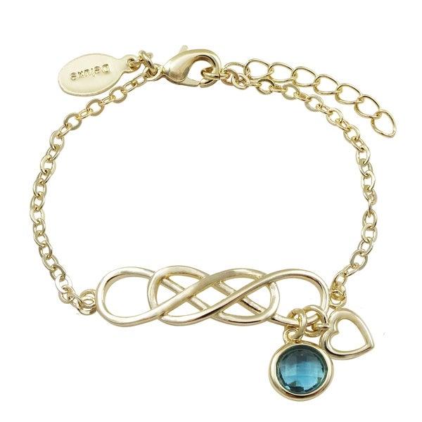 "Luxiro Gold Finish Cubic Zirconia Girl's Open Bar Bracelet, 5""+1"" Extender. Opens flyout."