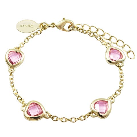 Luxiro Gold Finish Pink Cubic Zirconia Heart Bracelet