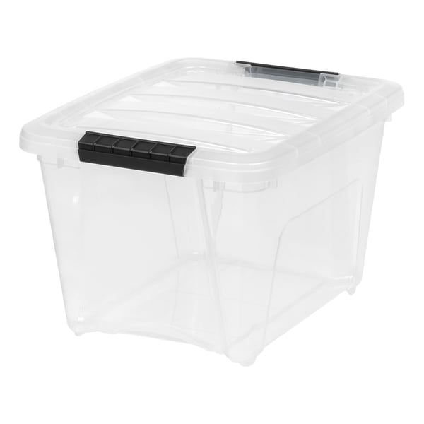 IRIS 19 Quart Stack & Pull™ Box, 6 Pack, Clear with Black Handles. Opens flyout.