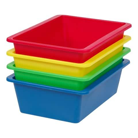 IRIS Large Multi-Purpose Plastic Bins, 4 Pack, Primary