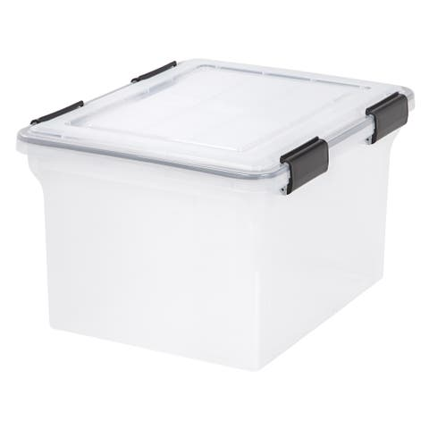IRIS WEATHERTIGHT® Letter/Legal File Box, 18 x 14-1/2 x 10-7/8 in, 4 Pack, Clear