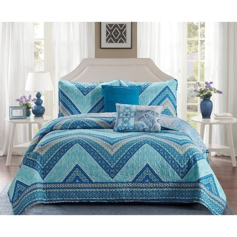 Madison Collection 5 Piece Beautiful Reversible Design Quilt Set