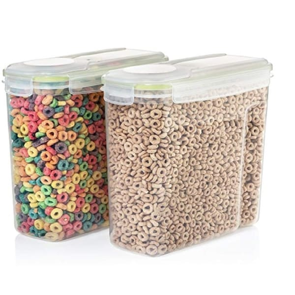 Set of 2 Clear Plastic Cereal Food and Snack Kitchen Storage Containers with Lids