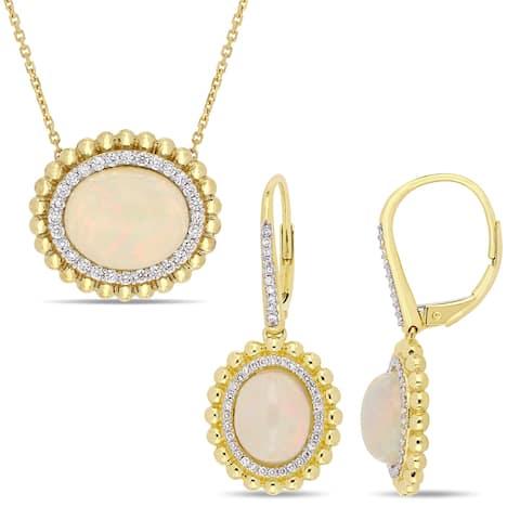 Miadora 14k Yellow Gold Ethiopian Opal and 1/2ct TDW Diamond Beaded Halo Jewelry Set