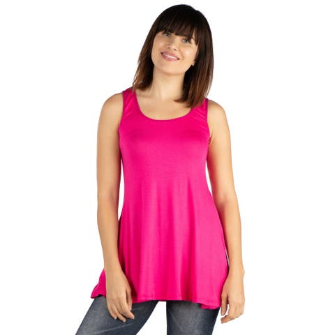 24seven Comfort Apparel Womens Sleeveless Tunic Tank Top