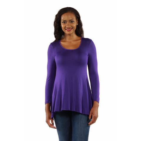 24seven Comfort Apparel Poised Long Sleeve Swing Tunic Top