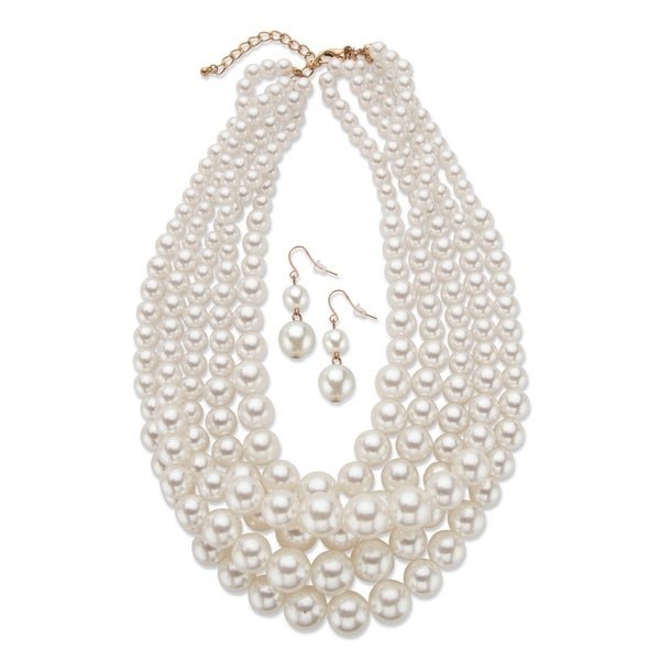 Gold Tone Strand Necklace and Drop Earring Set, Simulated Pearls, 18""