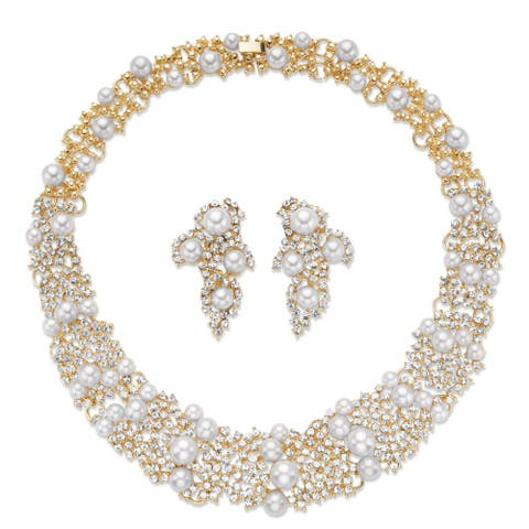 """Gold Tone Collar Necklace and Drop Earring Set, Simulated Pearls, 16"""""""