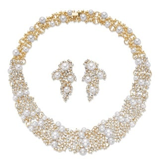 "Link to Gold Tone Collar Necklace and Drop Earring Set, Simulated Pearls, 16"" Similar Items in Jewelry Sets"