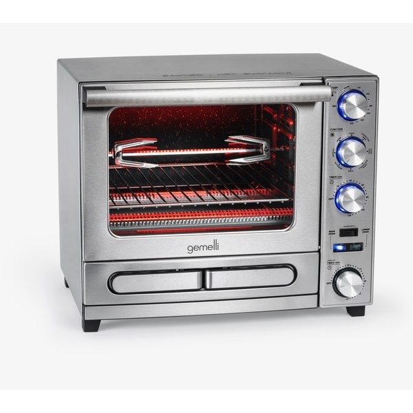 Gemelli Twin Oven, Convection Oven with Built-In Pizza Drawer and Rotisserie, Stainless Steel Finish. Opens flyout.