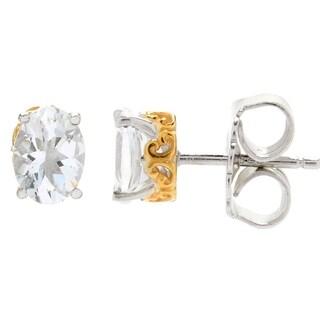 Gems en Vogue Palladium Silver Brazilian Goshenite Stud Earrings