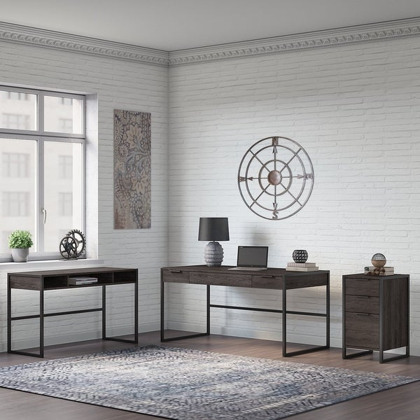 Atria L Desk with 3 Drawer File Cabinet from Office by kathy ireland®