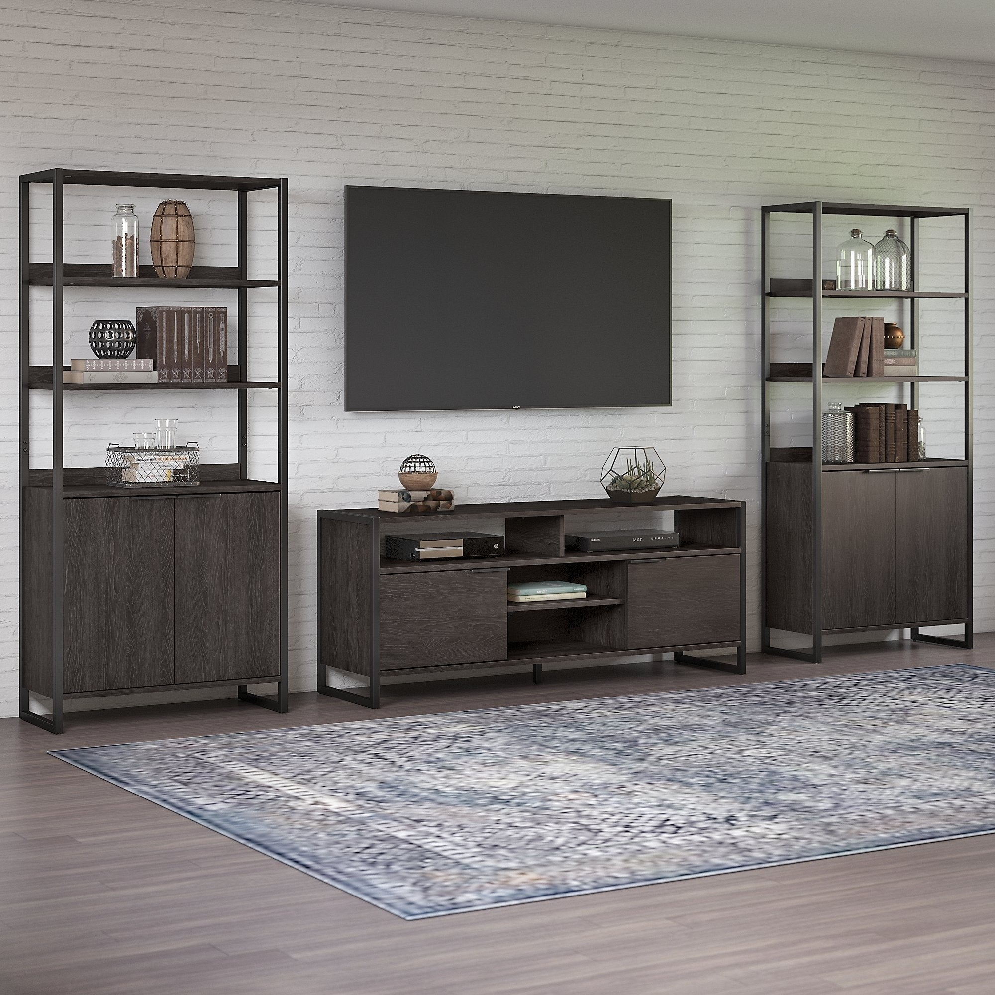 Atria Tv Stand 2 Bookcases From Kathy Ireland Home By Bush Furniture