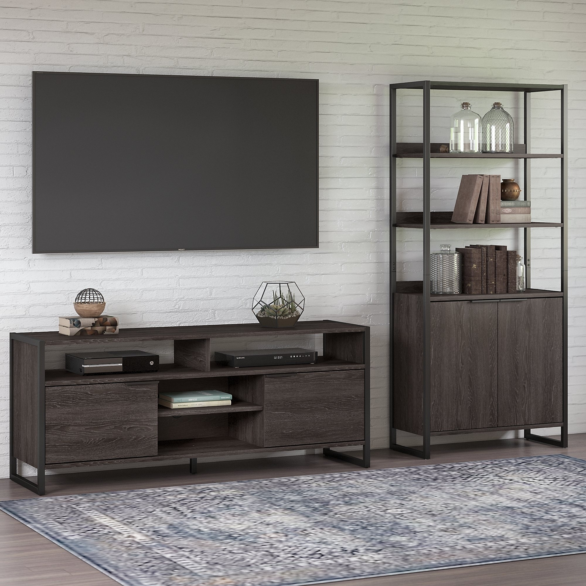 Atria Tv Stand With Bookcase From Kathy Ireland Home By Bush Furniture
